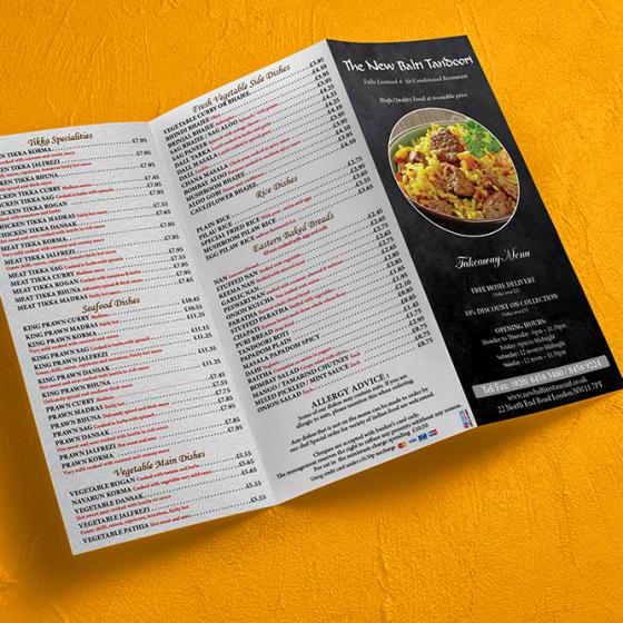 restaurent menu deisgn in London