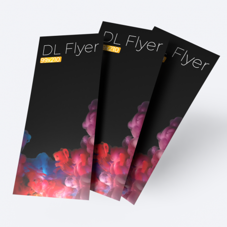 DL 99mm x 210mm double sided flyer.