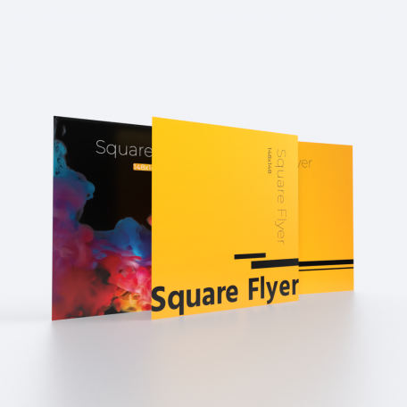 148mm x 148mm double sided flyer.